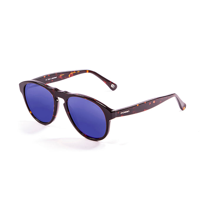 ocean sunglasses KRNglasses model WASHINGTON SKU 5001.0 with matte black frame and revo blue lens