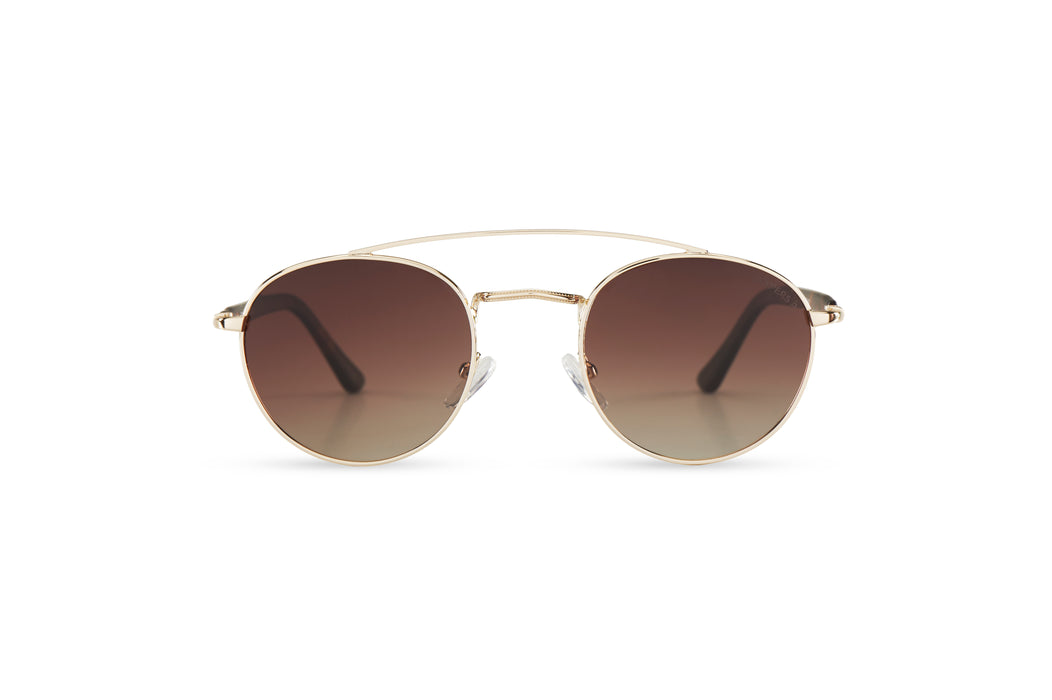 KYPERS sunglasses model ZOE ZO001 with gold frame and gradient brown lens