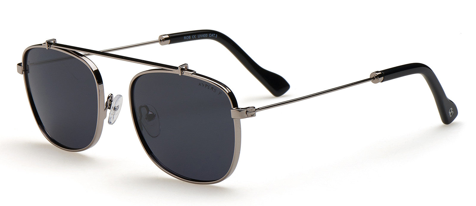 KYPERS sunglasses model ROB RB002 with gun frame and blue revo lens