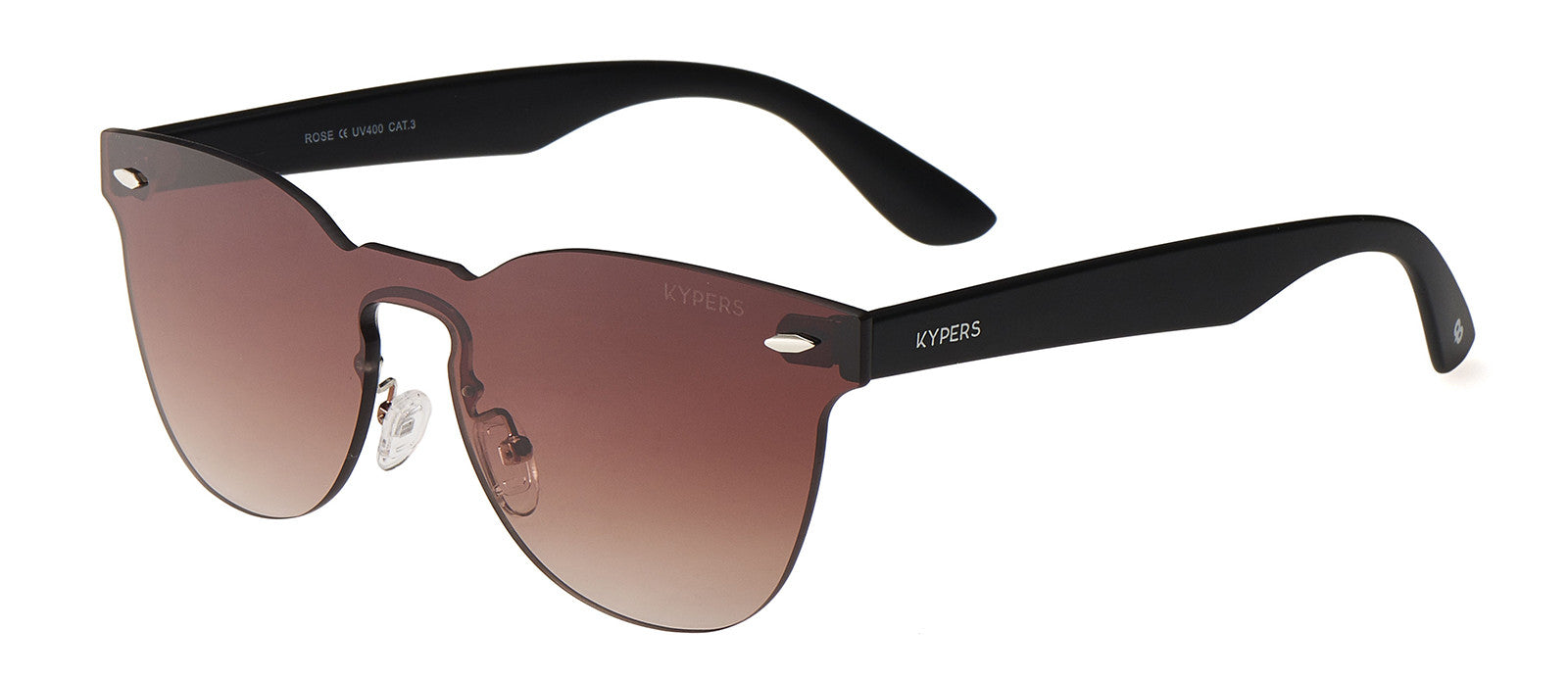 KYPERS sunglasses model ROSE RS002 with black frame and gradient brown & sky blue mirror lens