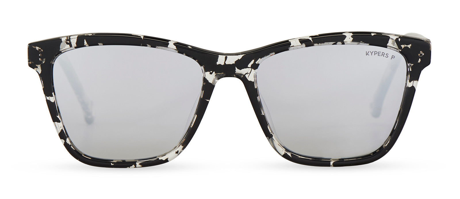 KYPERS sunglasses model RENÉ RE001 with black & crystal demy frame and gradient grey mirror lens