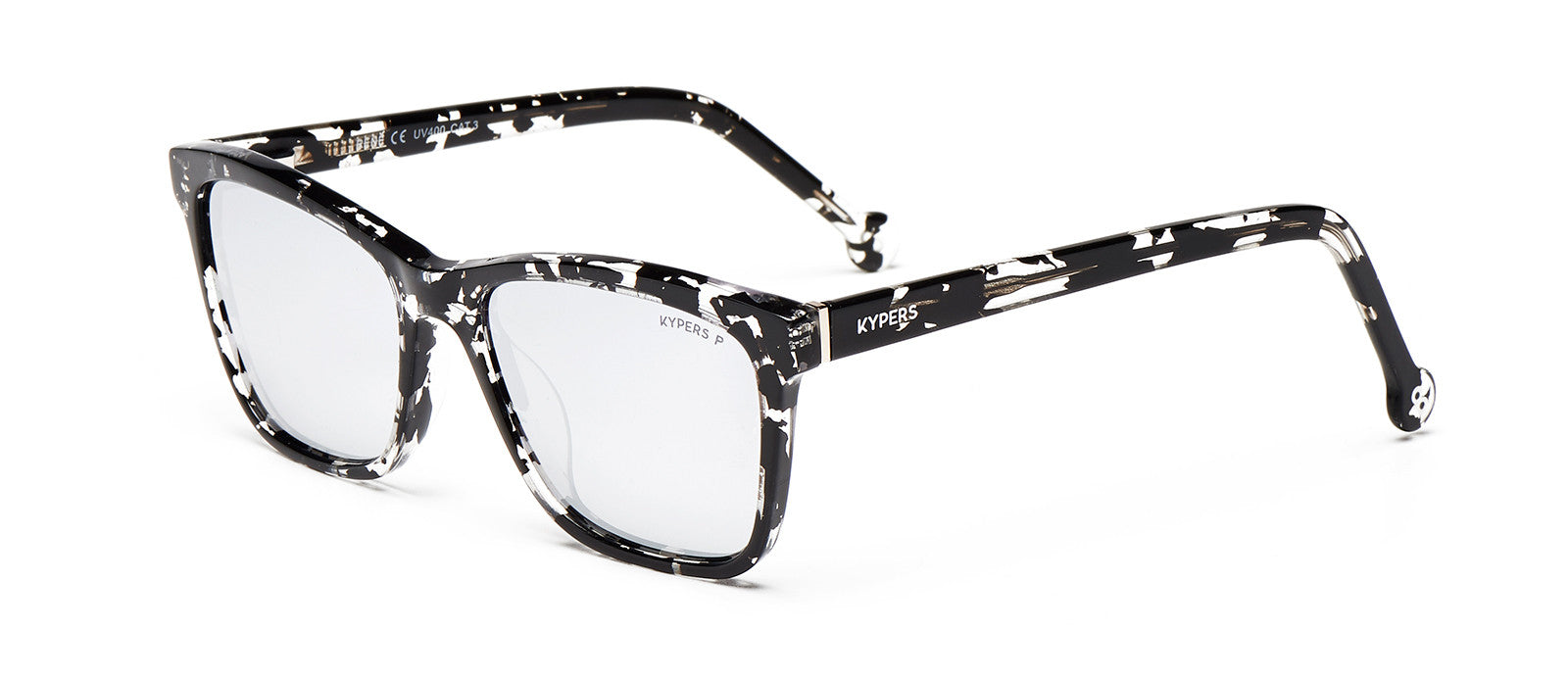 KYPERS sunglasses model RENÉ RE002 with blue & cristal demy frame and gradient grey lens