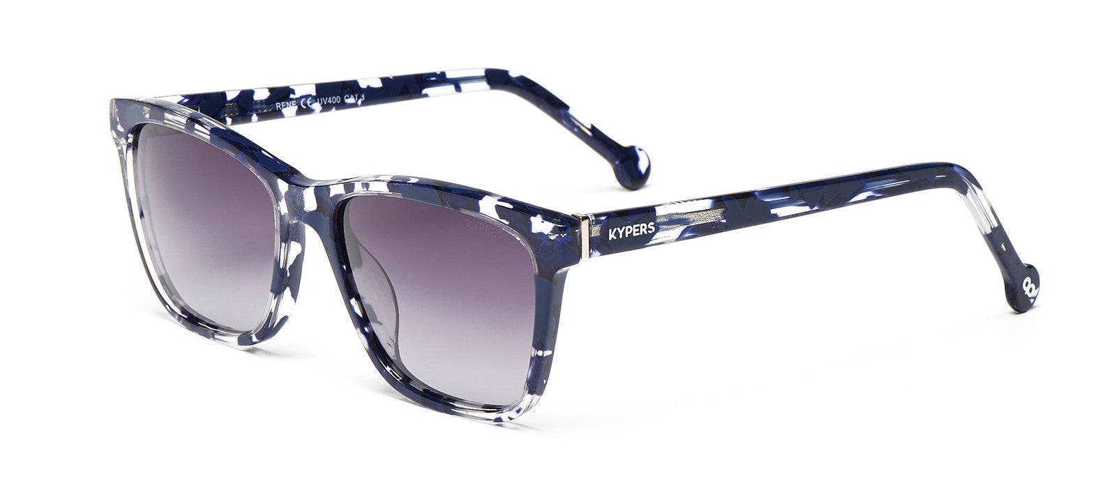 KYPERS sunglasses model RENÉ RE004 with green, white & brown demy frame and green revo lens