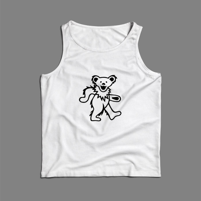Black White Grateful Dead Bear Men Tank Top | Teesmarvel