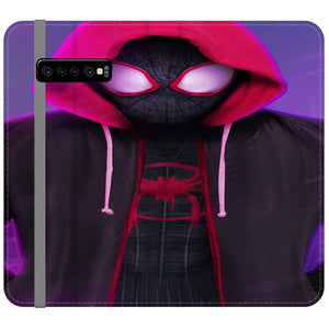 Red Black Spiderman Kid Hoodies Into The Verse Samsung Galaxy S10 Flip Case | Teesmarvel