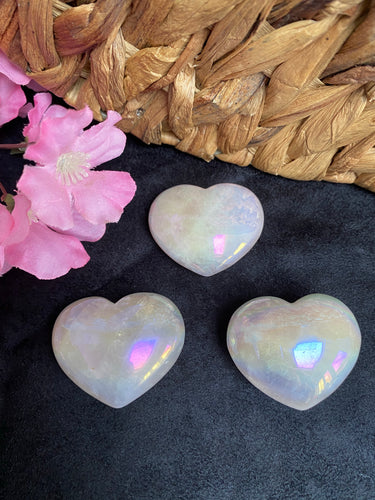 Rose Aura Quartz Puffy Heart