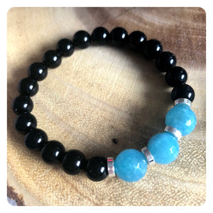 Black Tourmaline and Blue Sponge Quartz Bracelet