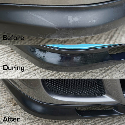Before & After using Black Pearl Trim & Tire Armour on faded plastic trim