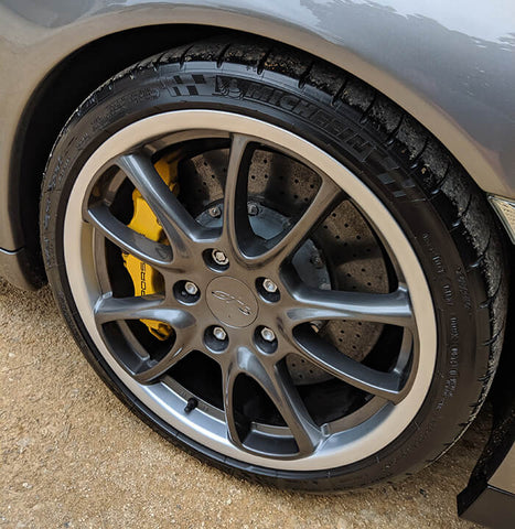 Black Pearl Trim & Tire Armour Tyre Coating on a Porsche GT3 RS Wheels & Tyres 5 Coats of Matt