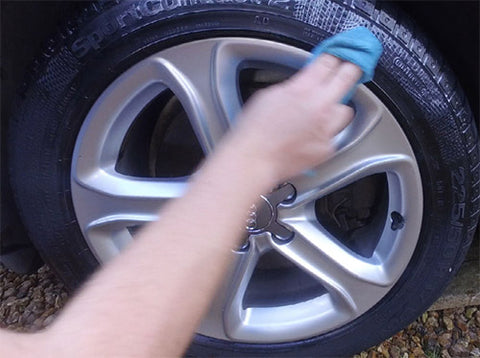 wiping down tires