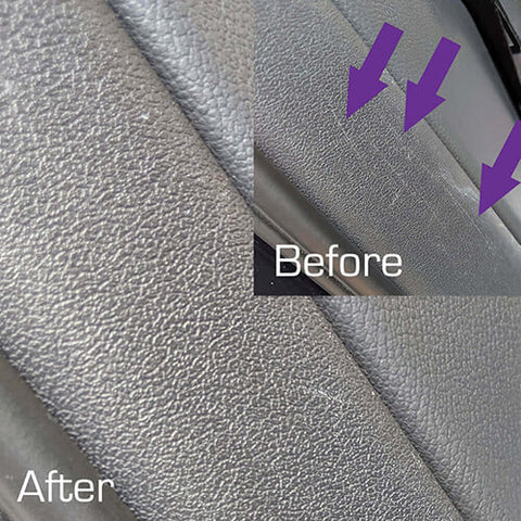 Befor & After Black Pearl Trim & Tire Armour on interior hiding covering restoring plastic trim