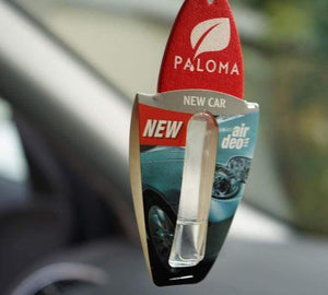 Paloma Car Air Fresher 5ml New Car  hanging in car front close up