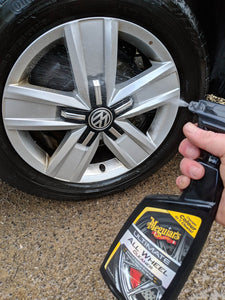 Meguiars Ultimate Wheel Cleaner On Wheels Turning purple foamed up removing iron being sprayed on wheel