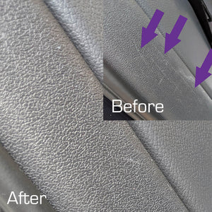 Interior Restored Grey Plastic Trim Black Pearl Trim & Tire Armour Gloss before & After