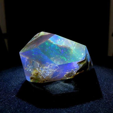 Faceted crystal opal from opal butte
