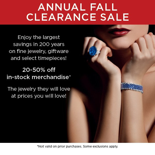 Fall jewelry, watch, giftware, home goods sale. Best deals in Boston MA and Greenwich CT