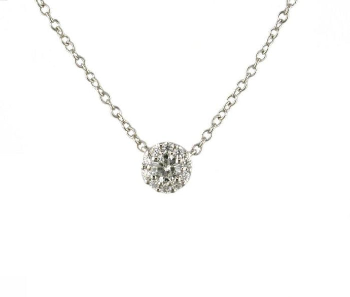 0.17 Carat Round Brilliant Cut Diamond Pendant (WG) - Boston