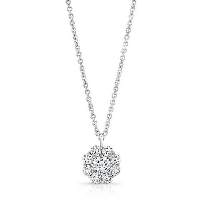 0.23ctw Round Cut Diamond Pendant Necklace (White Gold) - Jewelry Designers Boston