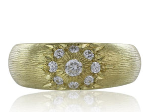 18K Yellow Gold Dome Diamond Band Ring - Jewelry Boston