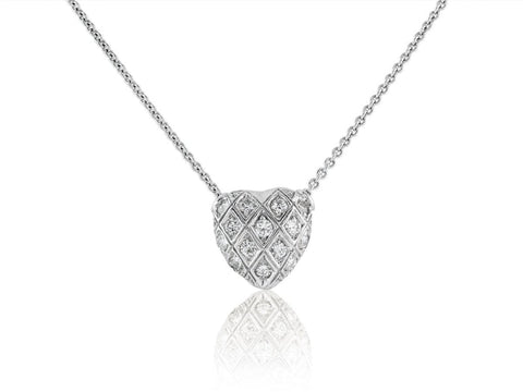 0.30 Carat Diamond Heart Shape Pendant Necklace (18K White Gold) - Jewelry Boston