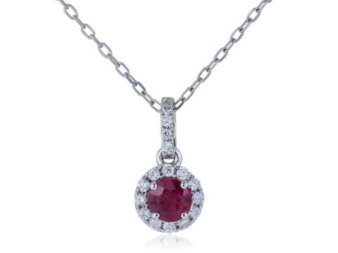 0.32 Carat Ruby And Diamond Pendant Necklace (14K White Gold) - Jewelry Boston