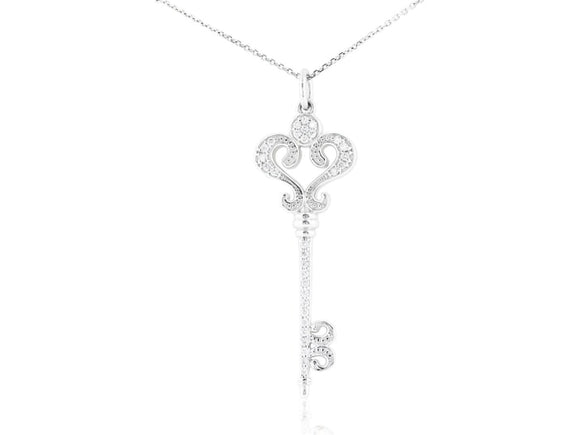 0.33 Carat Diamond Key Pendant Necklace (14K White Gold) - Jewelry Boston