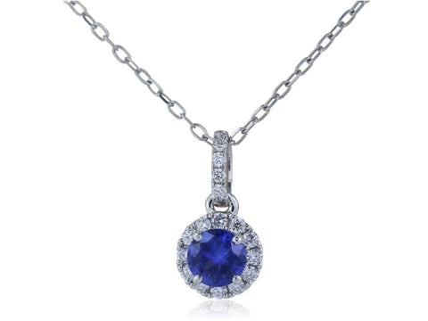0.34 Carat Sapphire And Diamond Pendant Necklace (14K White Gold) - Jewelry Boston