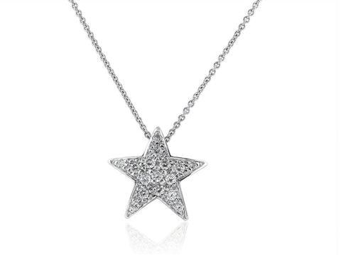 0.40 Carat Diamond Star Pendant Necklace (18K White Gold) - Jewelry Boston