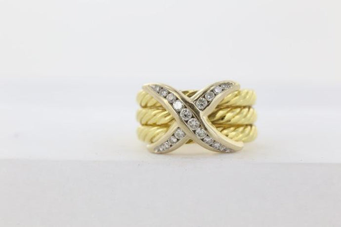 .40 carat diamond criss cross ring (18k Two Tone) - Boston