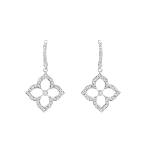 0.44Ctw Gumuchian White Gold Diamond Lotus Motif Drop Earrings - Jewelry Boston
