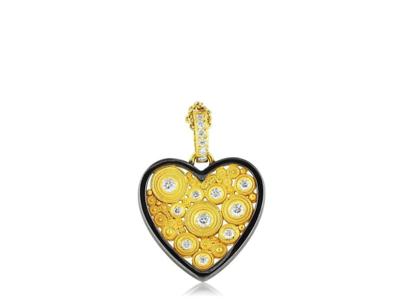 0.45 Carat Diamond Heart Pendant (18K Yellow Gold) - Jewelry Boston