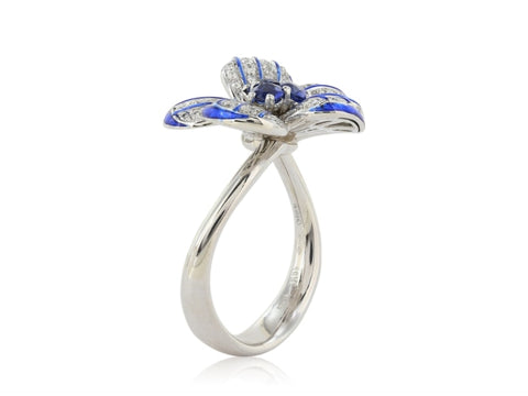 0.48ct Sapphire & Diamond Flower Motif Ring - JEWELRY Boston