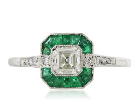 0.50 Carat Diamond And Emerald Ring (18K White Gold) - Jewelry Boston