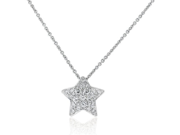 0.50 Carat Diamond Star Pendant Necklace (18K White Gold) - Jewelry Boston