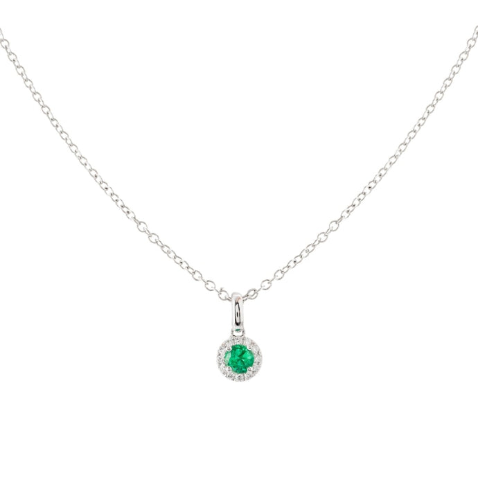 0.50ct Emerald & Diamond Pendant (18k White Gold) - JEWELRY Boston