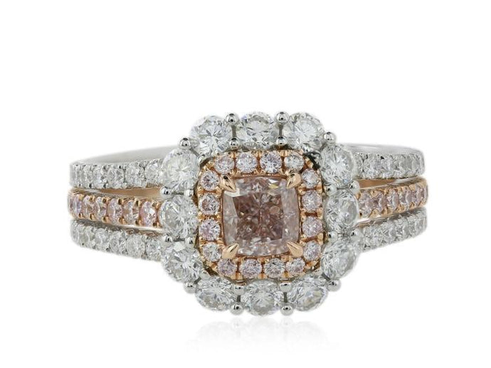 18 Karat White & Rose Gold 0.51 Carat Pink Diamond Ring - Boston