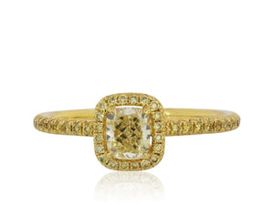 0.53 Carat Cushion Cut Canary Cluster Style Diamond Ring (18K Yellow Gold) - Jewelry Boston