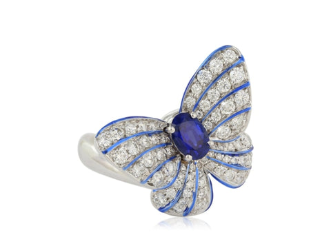 0.55ct Blue Sapphire & Diamond Butterfly Ring (White Gold) - JEWELRY Boston