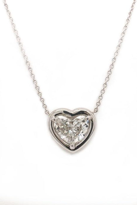 0.59 Carat Heart Shape Diamond Pendant (PLAT)(GIA D/SI1) - Boston