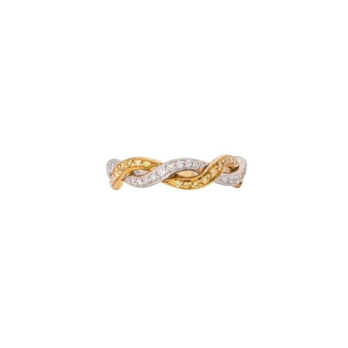White And Yellow 18 Karat Gold Diamond Twist Band - Boston