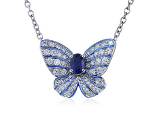 0.61ct Blue Sapphire & Diamond Butterfly (White Gold) - JEWELRY Boston