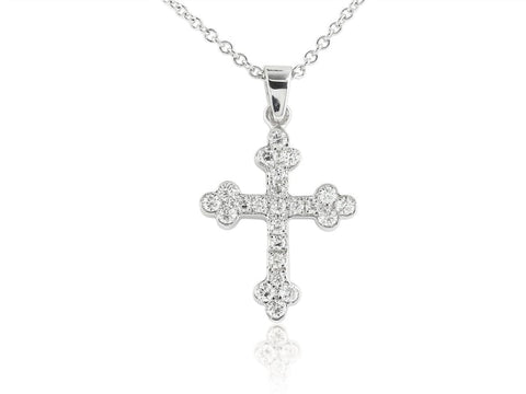 0.63 Carat Diamond Cross Pendant Necklace (18K White Gold) - Jewelry Boston