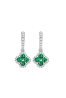 0.64 Carat Emerald And Diamond Drop Earrings (18K White Gold) - Jewelry Boston