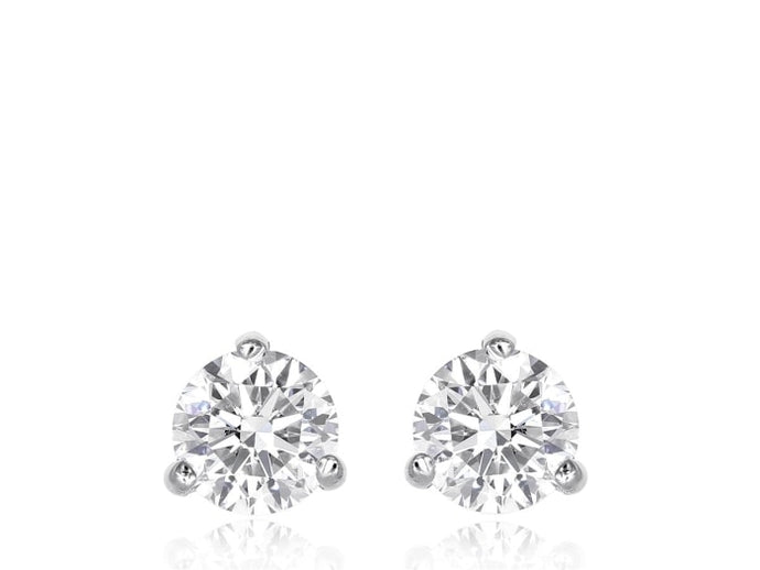 0.64 Carat Round Brilliant Cut Diamond Stud Earrings (14K White Gold) - Jewelry Boston