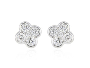 0.67 Carat Round Brilliant Cut Clover Shaped Diamond Stud Earrings F / Si1 (14K White Gold) - Jewelry Boston