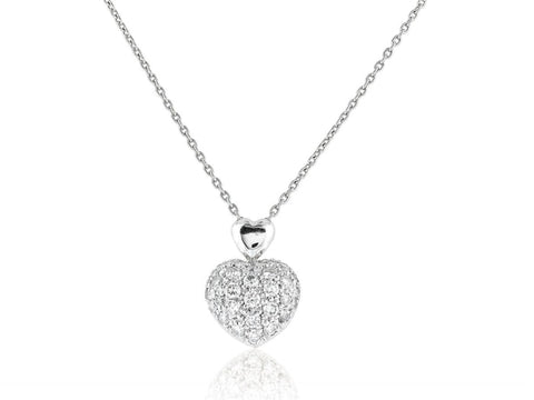 0.70ct Diamond Heart Shape Pendant Necklace (Platinum) - JEWELRY Boston