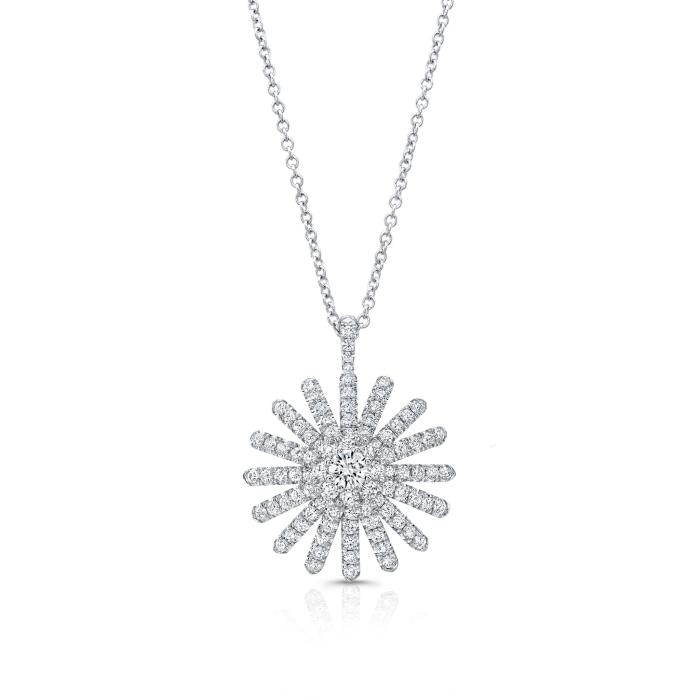 0.71ctw Diamond Aster Pendant Necklace (White Gold) - Jewelry Designers Boston