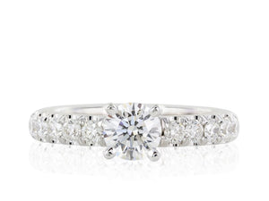 0.74 Carat Round Brilliant Cut Solitaire Diamond Engagement Ring (18K White Gold) - Jewelry Boston