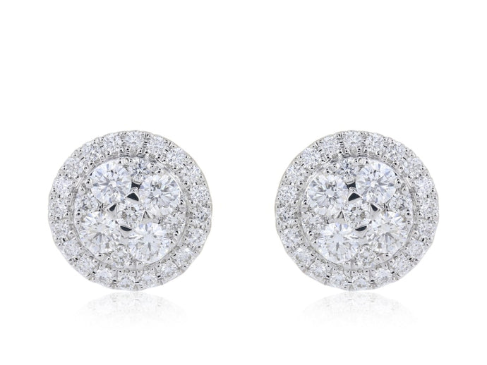 0.75ctw Pave Diamond Cluster Earrings (White Gold) - JEWELRY Boston