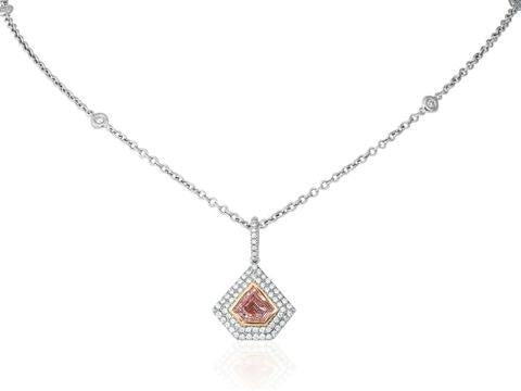 0.76 Carat Pink Diamond Pendant Necklace (GIA Certified Two-Tone) - JEWELRY Boston